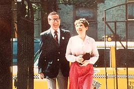 Sheldon Kranz and his wife, Anne Fielding, entering the court yard at 67 Jane Street, where Eli Siegel gave classes.